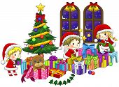 Cute Little Elves Are Celebrating Christmas In Isolated Background With Black Outline