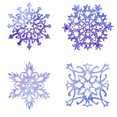 Watercolor blue painted set of Christmas snowflakes