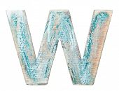 Painted on wood alphabet, letter W