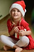 Girl  In Santa Cap