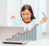 banking, business, finances and happy people concept - laughing businesswoman with laptop, credit card and graph