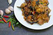 image of catfish  - Spicy Stir Fried catfish on dish - JPG