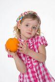 Nice Little Girl Loves Fruit