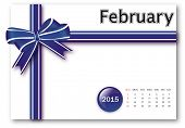 February 2015 - Calendar series with gift ribbon design