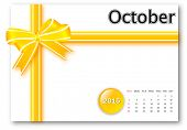 October 2015 - Calendar series with gift ribbon design