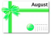 August 2015 - Calendar series with gift ribbon design