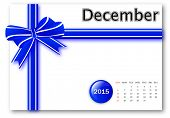 December 2015 - Calendar series with gift ribbon design