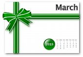March  2015 - Calendar series with gift ribbon design
