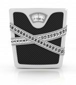 concept diet weight on a white background Illustration on white background