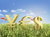 Gold Currency Symbols On The Key With The Word Yes On The Sky.