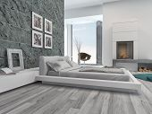 3D Rendering of Modern bedroom interior with elegant grey decor, stylish cabinets, artwork on the walls and a wooden parquet floor with a view to an open fire in a fireplace or chimney