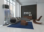 3D Rendering of Architectural Lounge Room Design with Glass Windows, Styled with Gray Couch and Wooden Furniture and Artwork Hanging on the Gray Wall.