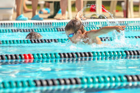 picture of competing  - Boy swimming Butterfly in a race - JPG