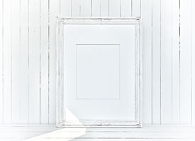 stock photo of mosk  - White frame on blank plank wooden background - JPG