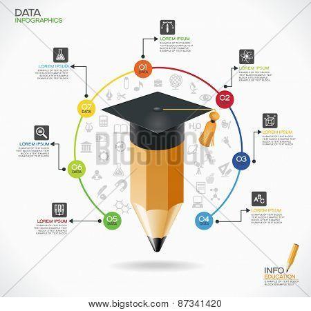 Education infographic Template. Concept education. Academic cap ...