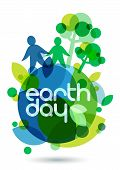 stock photo of save earth  - Two people silhouettes and green trees on the Earth - JPG