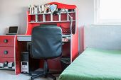 pic of schoolboys  - Red desk in perfect room for schoolboy - JPG
