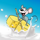 picture of raft  - Mouse sails on raft cheese  - JPG