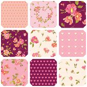image of shabby chic  - Patchwork with Roses Background  - JPG