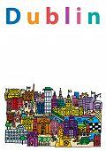 image of ireland  - A cartoon style vector illustration of Dublin City Ireland - JPG