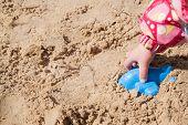 stock photo of children beach  - Child Playing at the Beach - JPG
