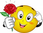 foto of embarrassing  - Mascot Illustration of an Embarrassed Smiley Giving a Red Rose - JPG