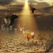 image of fantasy world  - Fantasy world  with deer and flying islands - JPG