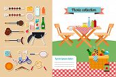 foto of meat icon  - Vector picnic elements collection - JPG