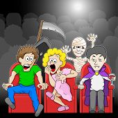 pic of watching movie  - vector illustration of a couple is watching a horror movie movie in a cinema - JPG