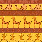 image of african animals  - Seamless pattern in African style with animals - JPG