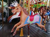 image of merry-go-round  - A horse at a merry - JPG