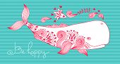 pic of whale-tail  - Card Be Happy with Whale and Patterns - JPG