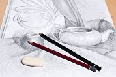 image of pencil eraser  - Drawing of still life by graphite pencil with apple tea infuser and plaster palm leaf - JPG