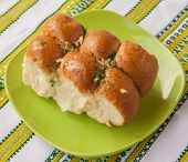 stock photo of pampushka  - Traditional Ukrainian borsch bun to  - JPG