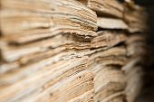 picture of dingy  - Stack of the old paper documents in the archive.