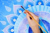 pic of chakra  - abstract blue painted picture with circle pattern - JPG