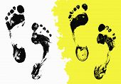 foto of painted toes  - Vector Black Foot Imprints Set - JPG