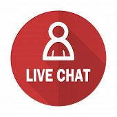 stock photo of chat  - live chat red flat icon   - JPG