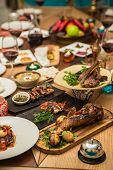 stock photo of banquet  - Served for a banquet table - JPG