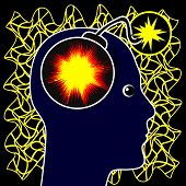 stock photo of nervous breakdown  - Epileptic seizure caused by abnormal electrical activity in the brain - JPG
