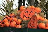 picture of wagon  - Pretty Fall scene of pumpkins and Jack - JPG