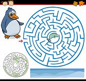 pic of game-fish  - Cartoon Illustration of Education Maze or Labyrinth Game for Preschool Children with Funny Penguin and Fish - JPG