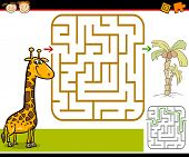 picture of brain-teaser  - Cartoon Illustration of Education Maze or Labyrinth Game for Preschool Children with Funny Giraffe and Palm Tree - JPG