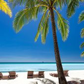 stock photo of boracay  - Beach chairs on a beautiful island Philippines Boracay - JPG