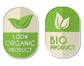 foto of elliptical  - 100 percent organic and bio product with leaf signs banners two elliptic flat design labels with text and symbol business eco concept - JPG