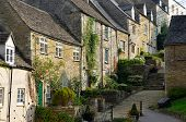 image of english cottage garden  - The medieval architecture of the old Cotswold cottages of the Chipping Steps in Tetbury in Gloucestershire in the Cotswolds England - JPG