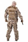 stock photo of glock  - Soldier in uniform - JPG