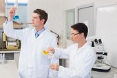 picture of beaker  - Scientists working attentively together with beakers in laboratory - JPG