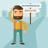 stock photo of change management  - A hipster Caucasian man change career directions employee to entrepreneur street direction a sign of progress a big decision to make in changing direction - JPG