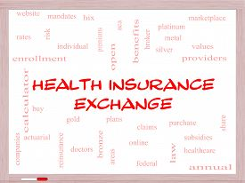 picture of bronze silver gold platinum  - Health Insurance Exchange Word Cloud Concept on a Whiteboard with great terms such as silver plans levels subsidies and more - JPG